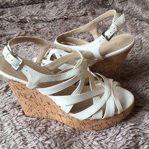 Faux snakeskin cork wedge heels